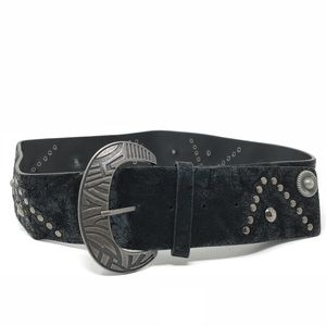 Black Leather Wide Belt Embellished Studded Sz L
